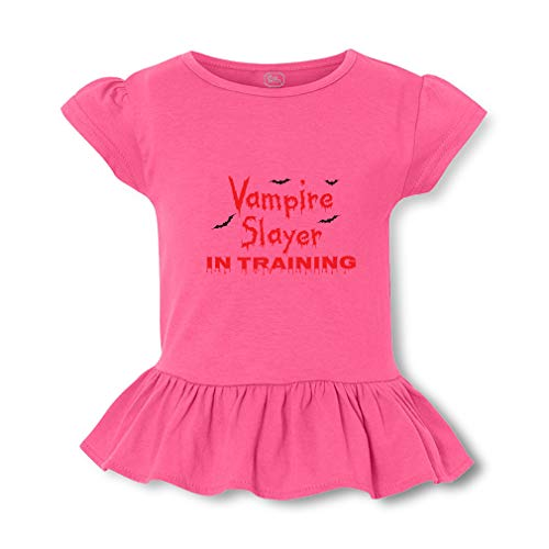 Vampire Slayer in Training Short Sleeve Toddler Cotton Girly T-Shirt Tee - Hot Pink, 4T -