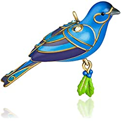 Hallmark QXM8527 Bunting Bird Miniature Ornament, Blue