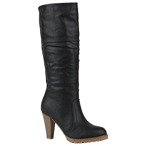 Stiefelparadies Damen Stiefel High Heels Flandell Schwarz Glatt