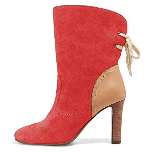 High Toe Shoes Round Suede Calf Mid Women YDN Booties Heel Dress Stacked Red Boots wTUFE