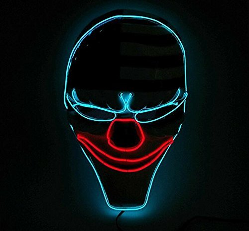 Cool Led Luminous Payday2 Dallas Mask Heist Clown Mask for Costume Party Birthday Halloween Carnival