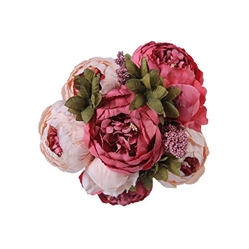 (Grapefruit09 Artificial Flowers Wedding Vintage European Peony Wreath Silk Fake Flowers Heads Home Festival Decoration 13 Branches Home,Dark Pink1)