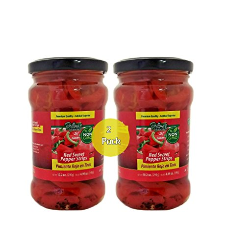 Bellina's Gourmet Non-Gmo Red Sweet Pepper Strips - 2 Pack Jars (10.2oz)