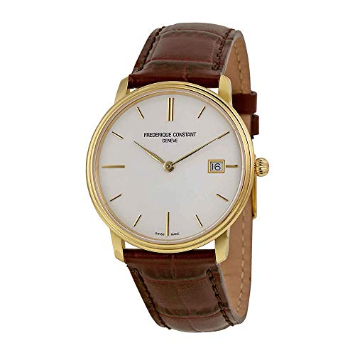 - Frederique Constant Men's FC220NW4S5 Slim Line Analog Display Swiss Quartz Brown Watch