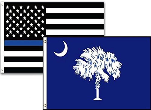 ALBATROS 12 in x 18 in USA Police Blue South Carolina State 2 Pack Flag for Home and Parades, Official Party, All Weather Indoors Outdoors