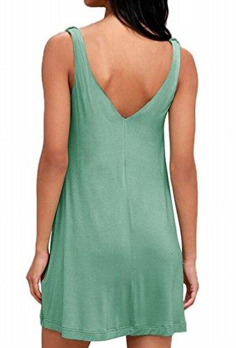 Femmes Domple Poches Réservoir Sundress Couleur Solide Partie Mini-manches Robe Casual 3