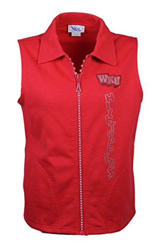 Nitro USA NCAA Western Kentucky Hilltoppers Women's Crystal Zipper Vest with Rhinestone WKU Stagger & Hilltoppers Fun Text, 2X, -