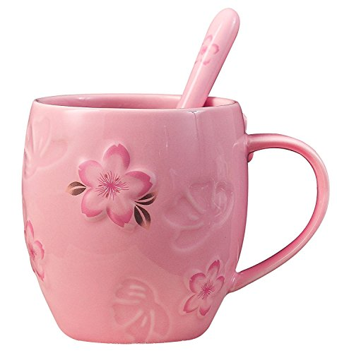 Japanese Large Capacity 14oz, Beautiful Cherry Blossoms Ceramics Coffee Mug/Tea Mug/Water Cup with Spoon for Home/Office (Blossom Pink Cup)