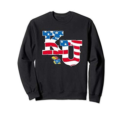 Kansas Jayhawks American Flag Pattern Sweatshirt - Apparel