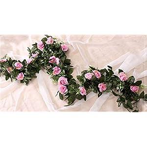 GSD2FF 11 Heads 240cm Silk Rose Garland Artificial Flower Vine Green Leaves Flower Garland Wedding Decoration Hanging Garland,Light Purple 63