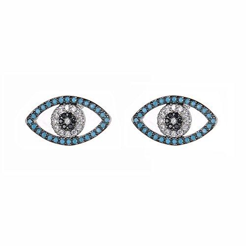 KIVN Fashion jewelry Spiritual Evil eye Pave CZ Cubic Zirconia Earrings for Women (Turquoise)