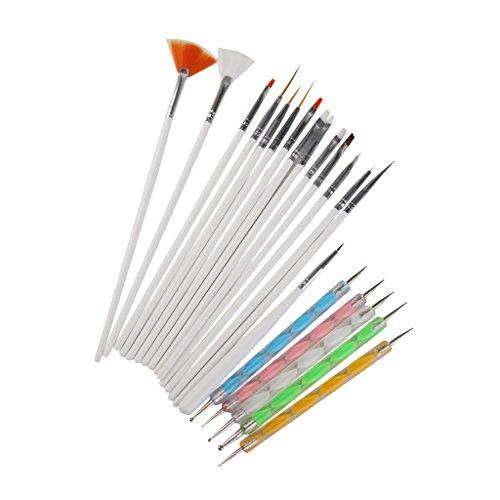 Designing Pc - MonkeyJack 20 Pcs Nail Art Designing Painting Dotting Drawing Pen Brushes Bundle Tool Set