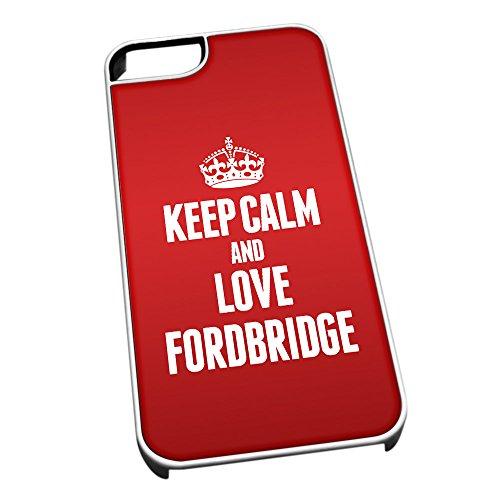 Bianco per iPhone 5/5S 0266Red Keep Calm And Love fordbridge