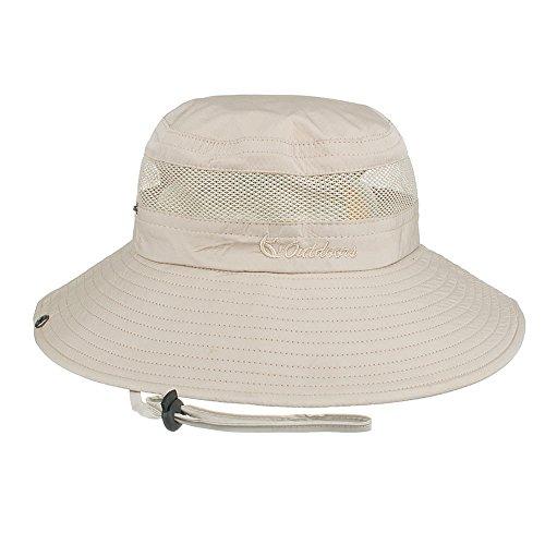 Fishing Sun Hat UPF 50+ Wide Brim Bucket Hat Packable Boonie Hat for Safari Hiking Beach Golf - UV Protection, Sun Protective - New Khaki Golf Hat