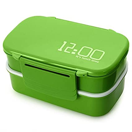 97f5aa281cd9 Amazon.com: Lunch Time Japan style Double Tier Bento Lunch Box 4 ...