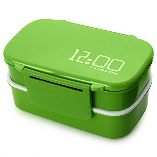 Lunch Time Japan style Double Tier Bento Lunch Box 4 Color Large Meal Box Tableware Microwave Dinnerware Set