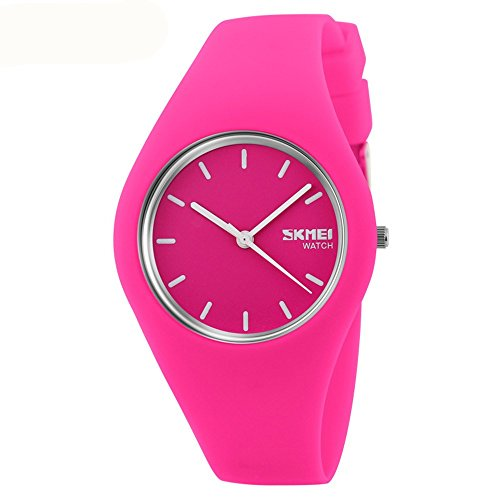 Skmei Fashion Trends Korean Version of The Silica Gel Quartz Ultra-Thin fine Gift Watches(12 Styles) (Rose red) by SKMEI