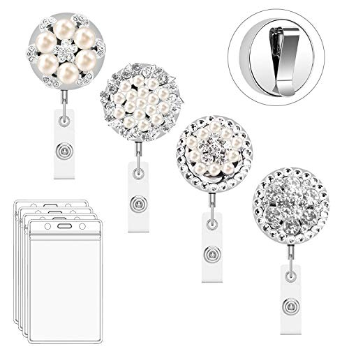 - Retractable Badge Holder Reel Clip, 4 Pack Bolly Heavy Duty Metal Bling BadgeHolders for Nurse with 4pcs Plastic ID Holders25 Inch Steel Wire Cord