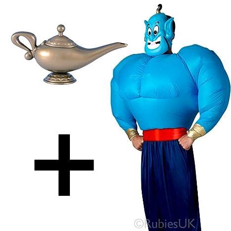 Mega Fancy Dress Disfraz hinchable Genie para hombre + lámpara ...