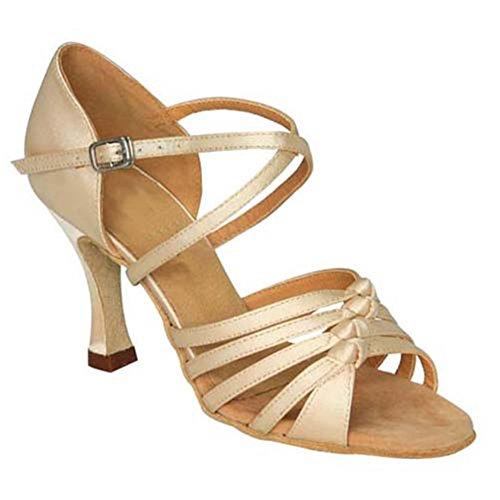 Salsa A Latin High Shoes Bottom Dance Soft Women's Round Sandal Head Dancing GUOSHIJITUAN Indoor Shoes Satin Social Heel qzET4xwP