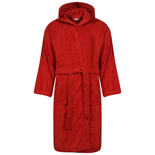 Linen Galaxy Women Ladies Girls Red Colour 100% Egyptian Cotton Terry  Towelling Bath Robe Hooded Soft Dressing Gown L XL  Amazon.co.uk  Clothing 0bca99638