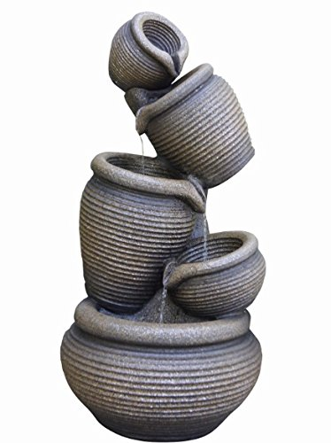 5 Tier Ribbed Pots LED Lit Garden Water Feature