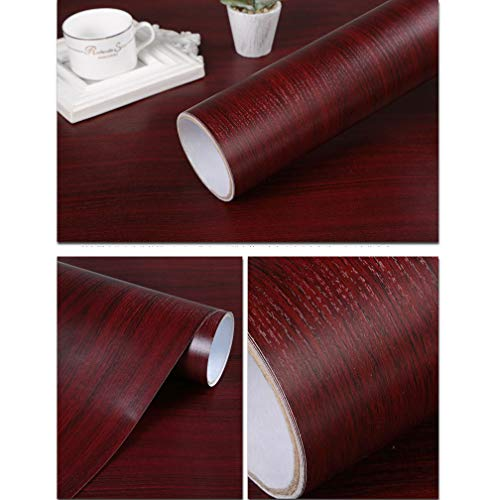 Self Adhesive Vinyl Mahogany Wood Contact Paper for Kitchen Cabinets Shelves Drawer Cupboard Counter Top Table Desk Furniture Door Wall Decal Sticker 24