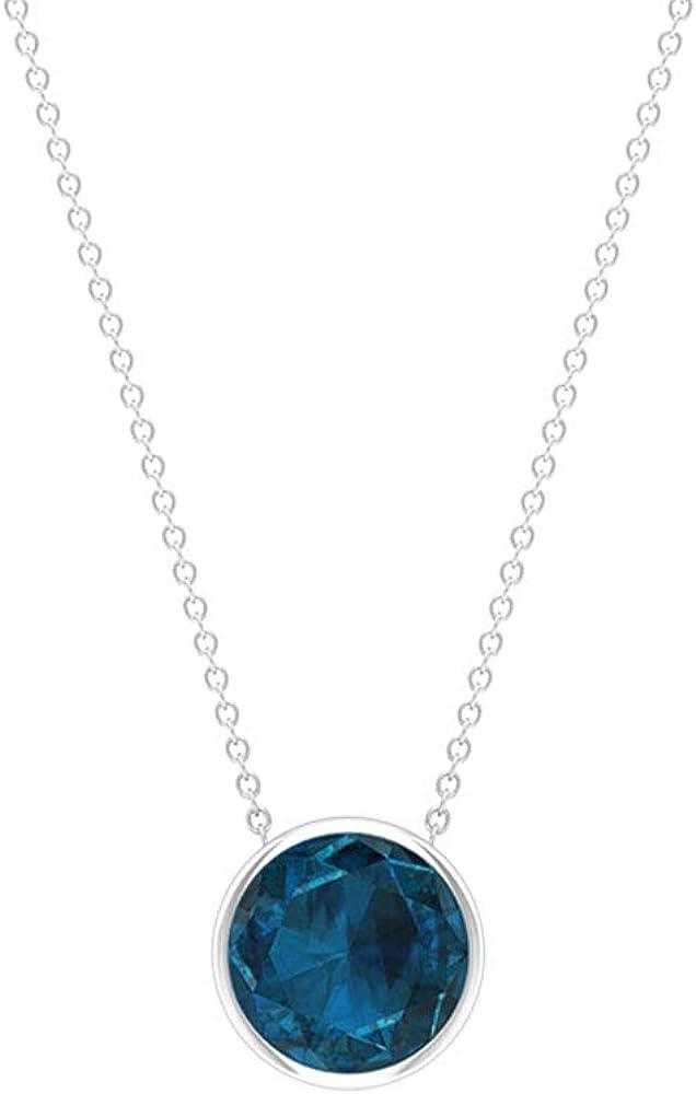 Colgante de topacio azul de Londres, único de 4,00 ct, certificado solitario, redondo, 10 mm, con piedras de nacimiento, para mujer, apilamiento de aniversario, regalo