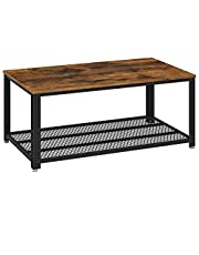 VASAGLE Coffee Table with Storage Shelf, Wood Look Accent with Metal Frame, RusticBrown ULCT61X