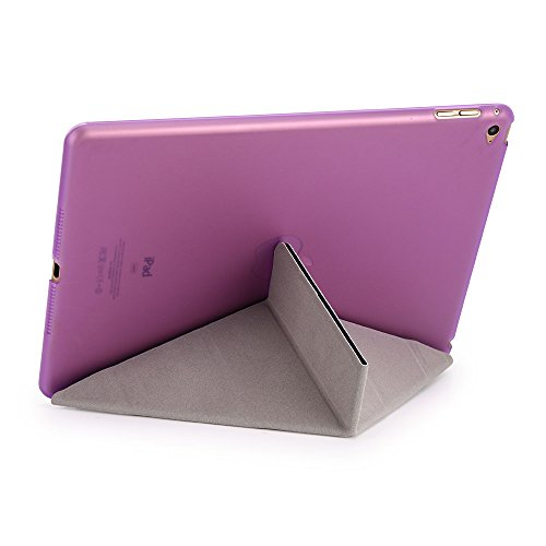 iPad Air 2 Case, Dowswin Multi Folded Protective PU Leather Front Case with Sleep Wake Up Function and Transparent Hard Back Cover for Apple 6th Gen (Purple) Photo #3