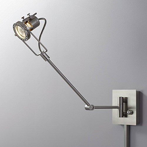 Single Spotlight Steel Plug-in Swing Arm LED Wall Lamp - Possini Euro Design