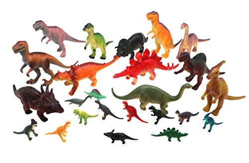 "(Forest & Twelfth Kids Dinosaur Family Super Toy Pack 24 Pieces Realistic Dinosaur Figures Including T-Rex, Triceratops, Stegosaurus, and More – Large Sized Toys 6 – 8"", Small Sized Toys)"