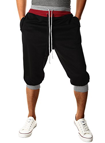 HEMOON Men's Casual Sports Jogging Harem Pants Jersey Sweatpants Black M