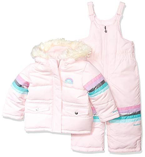 Skechers Girls' Big 2-Piece Heavyweight Snowsuit, Natural Pink, 10/12