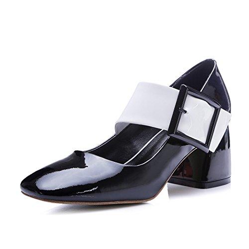 boca red con zapatos hebilla tacón nine Thirty zapatos Cuadrados gruesas alto zapatos Shallow palabra zapatos cuadrado de v0x4f7w