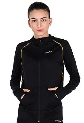 MotoRun Stretchy Women's Running Sports Jackets Full Zip Activewear Coat with Thumb Holes