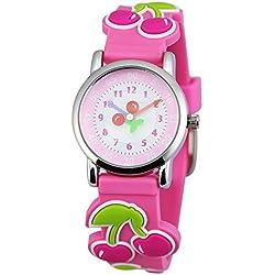 Zeiger Time Teacher Little Young Girls Children First Wrist Kids Watches, Cartoon Character Cherry Pink Band