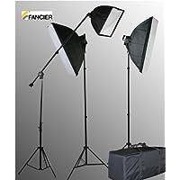 Fancierstudio 2800 Watt Lighting Kit With Boom Arm Hairlight Softbox Lighting Kit By Fancierstudio 9026S4