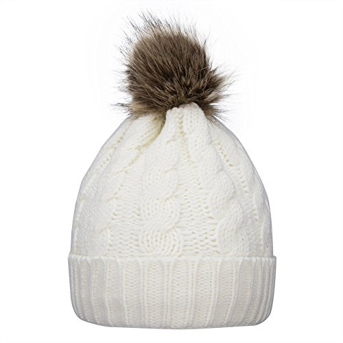 - GRAMONI Men / Women's Knit Beanie Cap Winter warm Hand Knit Faux Fur Pompoms Beanie Hat (White)