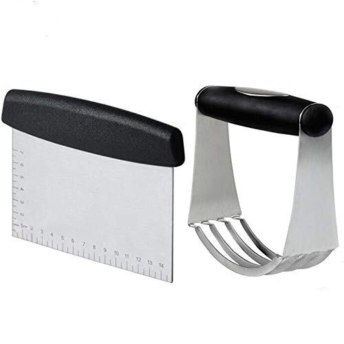 QEESTARS Stainless Steel Pastry Scraper Dough Blender Cutter Set,Pizza Dough Cutter,Chopper,with Blades,Multipurpose Spatula for Your Kitchen