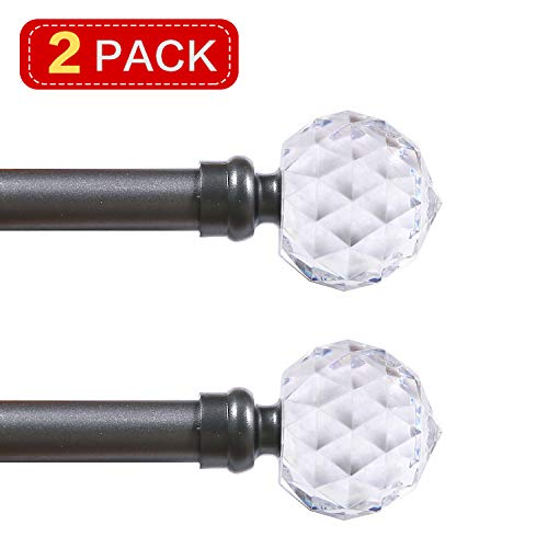 """Turquoize Decorative 3/4 Inch Curtain Rods Single Window Rod with Crystal Ball Finials, Faceted Crystal Curtain Rod Adjustable Length 48""""-84"""", Drapery Single Rod Set, 2 Pack, Pewter"""