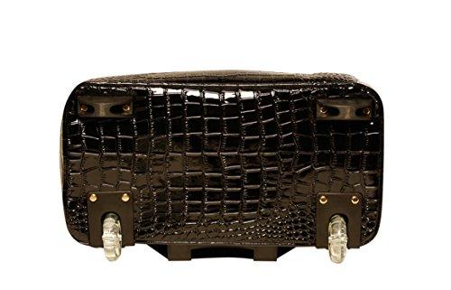 Damen-Trolley / -Handtasche Brieftasche mit Rollen für iPad, Tablet oder Laptop, Alligator-Optik, Rot und Schwarz Laptoptrolley