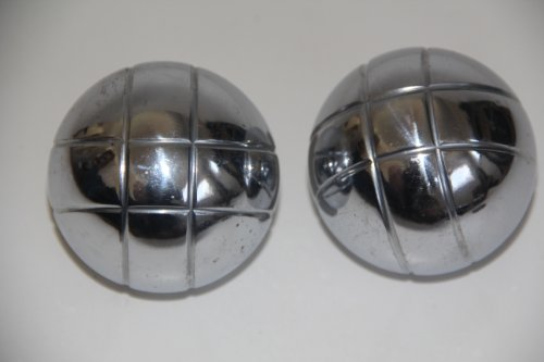 Replacement 73mm Metal Bocce/Petanque Silver Balls - pack of 2 with small criss cross pattern by BuyBocceBalls