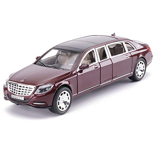 Car Model Black Red Maybach Pullman S600 Alloy Car Model Sound and Light Toys Six Open Door Car Model Decoration Collection Gift ( Color : Black )
