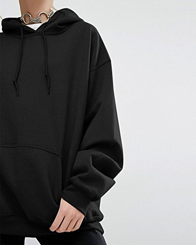 Lunghe Sovradimensionato Con Pullover Maniche Sweatshirt Tasca E Giacca Nero Hoodie Donna Cappuccio qZxE4wdq