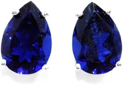 4 Carat Created Blue Sapphire Pear Stud Earrings .925 Sterling Silver Rhodium Finish