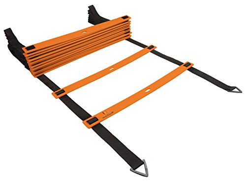 Wacces Speed Super Flat Adjustable Speed Agility Ladder for Soccer, Speed, Football, Fitness with Free Carry Bag ( 8 Rungs - Orange )