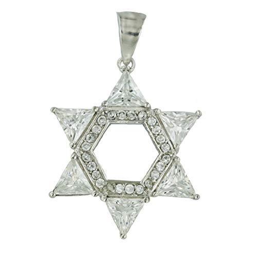 - Tisoro Sterling Silver Jewish Star Pendant with Cubic Zirconia–Star of David Pendant-100% Hypoallergenic Jewelry