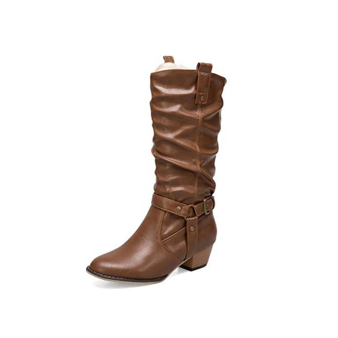 Zpl Boots Donna Stivaletti A Metà Polpaccio Caviglia Stivali Alti Coscia Pelle Nero Tacchi Bassi Block Moda Autunno Inverno Scarpe Taglia 35 46 Brown