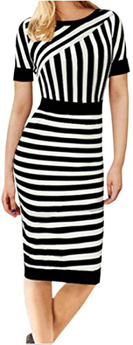 Slim striped short-sleeved dress - 8